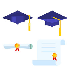 Graduation cap and diploma scroll icon vector