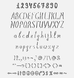 handwritten font with a full set of elements vector image
