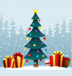 holiday background with a blue christmas tree and vector image