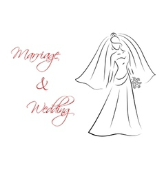 Marriage and wedding theme with bride silhouette vector
