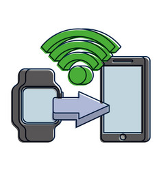 Mobile payments with smart watch mobile phone vector