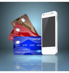 Mobile phone with credit cards on gray background vector image