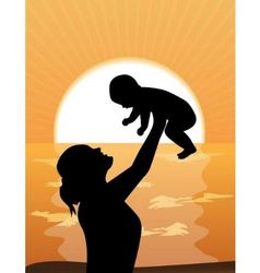 Mother and child at sunset vector
