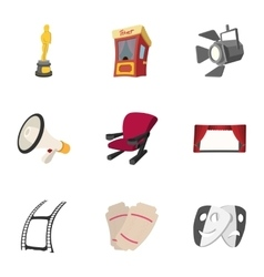 Movie icons set cartoon style vector image vector image