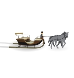 Old wagon for the horses with the driver isolated vector
