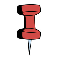 Red push pin icon cartoon vector