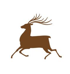 running deer icon or symbol reindeer animal vector image vector image