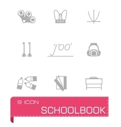Schoolbook icon set vector image