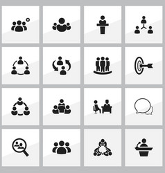 set of 16 editable team icons includes symbols vector image