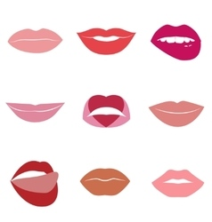 Set of glamour lips with different lipstick colors vector image vector image