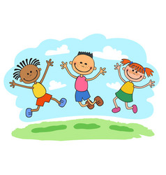 stick kids jumping together vector image