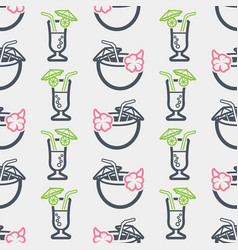 Summer seamless pattern with cocktail vector