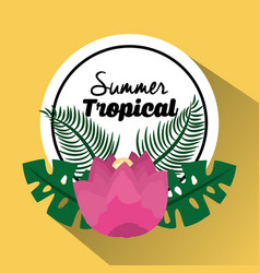 Summer tropical pink flower leaves palm banner vector