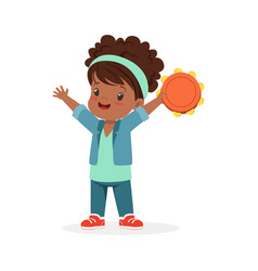 sweet little girl playing tambourine young vector image vector image
