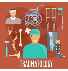 Traumatology symbol with surgeon and medical tools vector