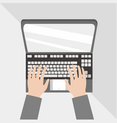 typing on laptop flat lay vector image