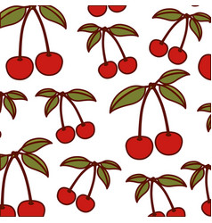 White background with pattern of cherries fruits vector