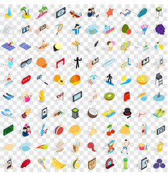 100 joy icons set isometric 3d style vector