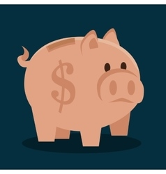 Cartoon piggy money earnings design isolated vector