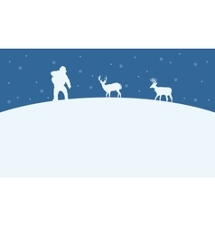 On the hill santa and reindeer christmas landscape vector