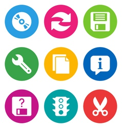 color basic interface icons vector image