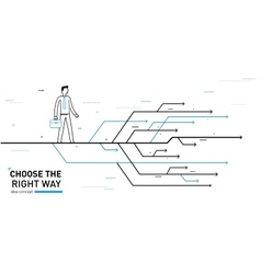 Businessman chooses the right path vector