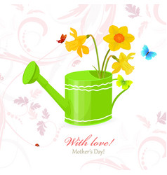 nice can watering with bouquet of daffodils and vector image