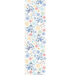 Cute snowmen vertical seamless pattern background vector