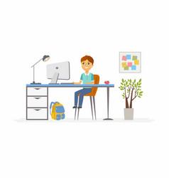 Online education - of school boy vector