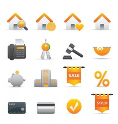 12 yellow real state icons vector