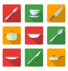 flat dinnerwarwe icons set vector image