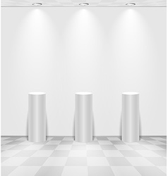White room with stands vector image