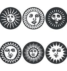 Sun faces vector image