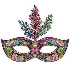 Ornate floral venetian carnival mask with feathers vector