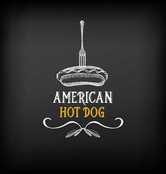 Hot dog badges and menu design elements vector