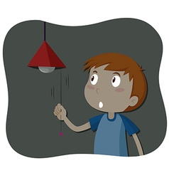Boy turning off the light vector