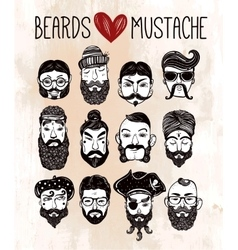 Mustache beard style set vector