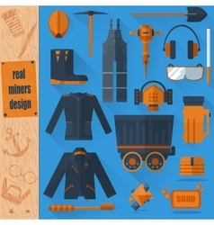 Miners set on blue background vector