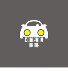 Logo with car and bright headlights vector