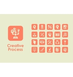 Set of creative process simple icons vector