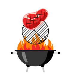 bbq grill with grate fire and fried steak vector image
