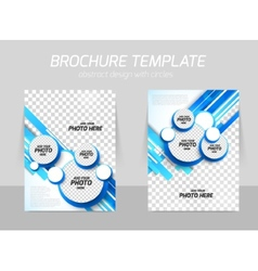 Blue brochure with circles vector image vector image