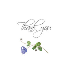 blue flower bird thank you card vector image