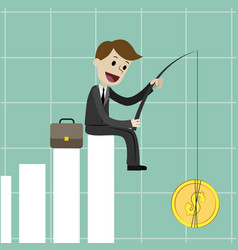 Businessman sitting on the growing chart vector