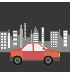 Car sedan city background design vector