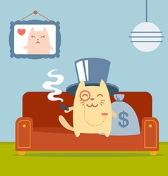 Character rich gentleman in a hat cylinder and a vector image vector image