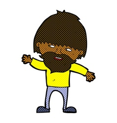 Comic cartoon happy bearded man waving vector
