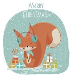 Cute christmas squirrel cartoon vector