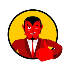 Devil shows well Sign all right Thumbs up Hand vector image vector image