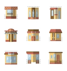 Flat color icons for building facade vector image